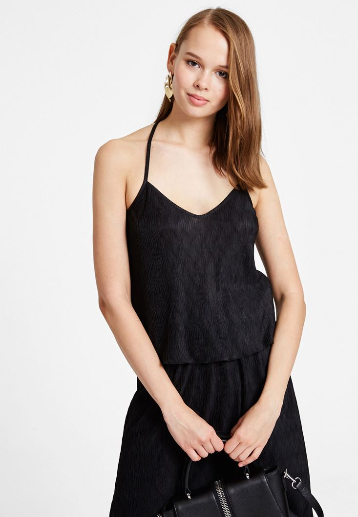 Siyah İnce Askılı Sırt Detaylı Bluz