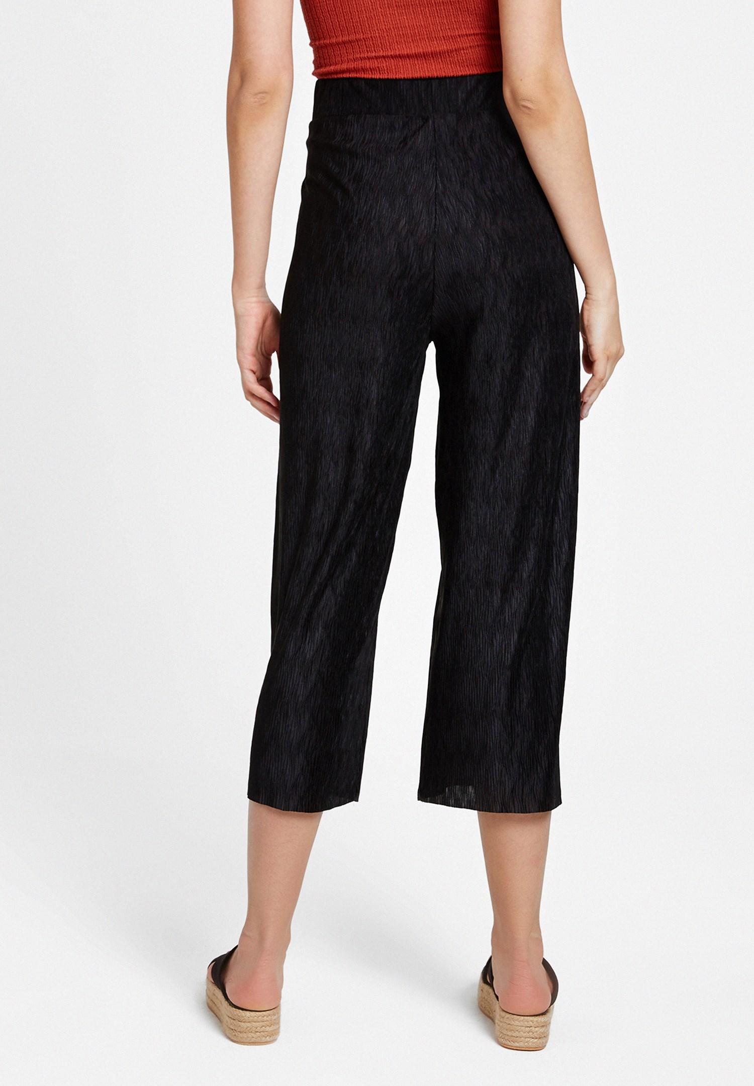 Bayan Siyah Pili Detaylı Pantolon