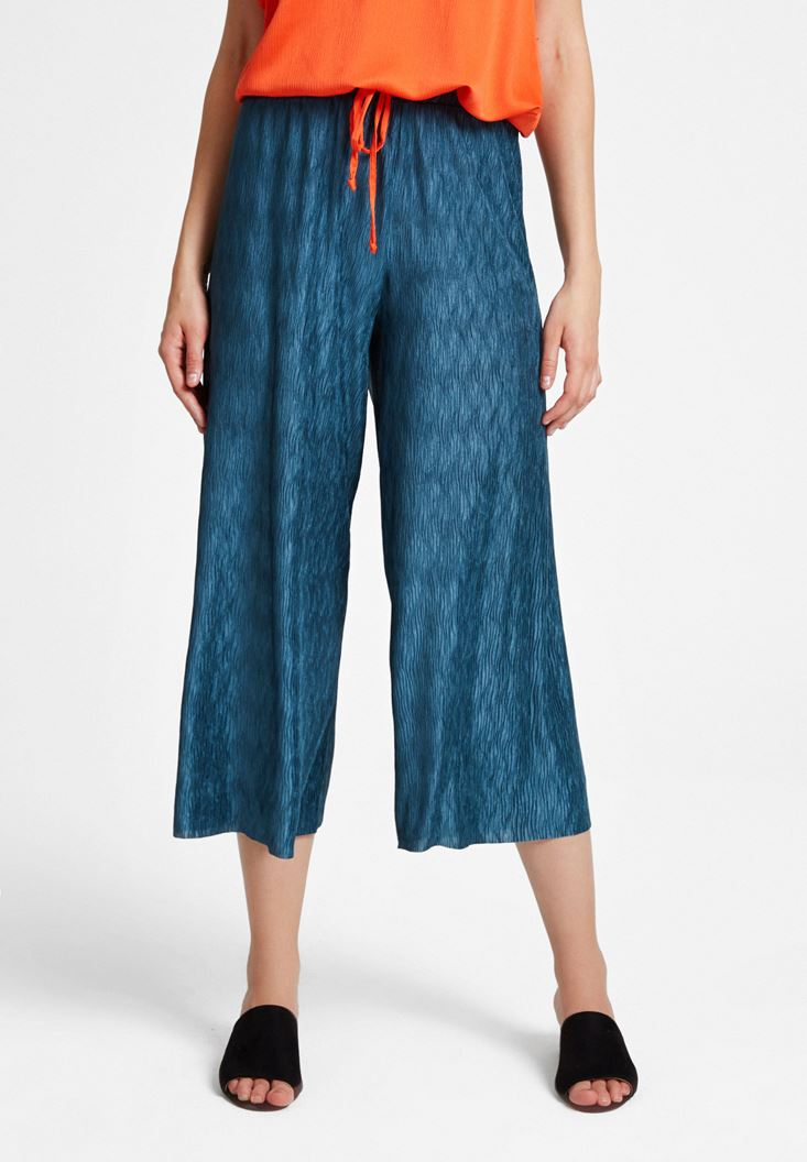 Yeşil Pili Detaylı Pantolon