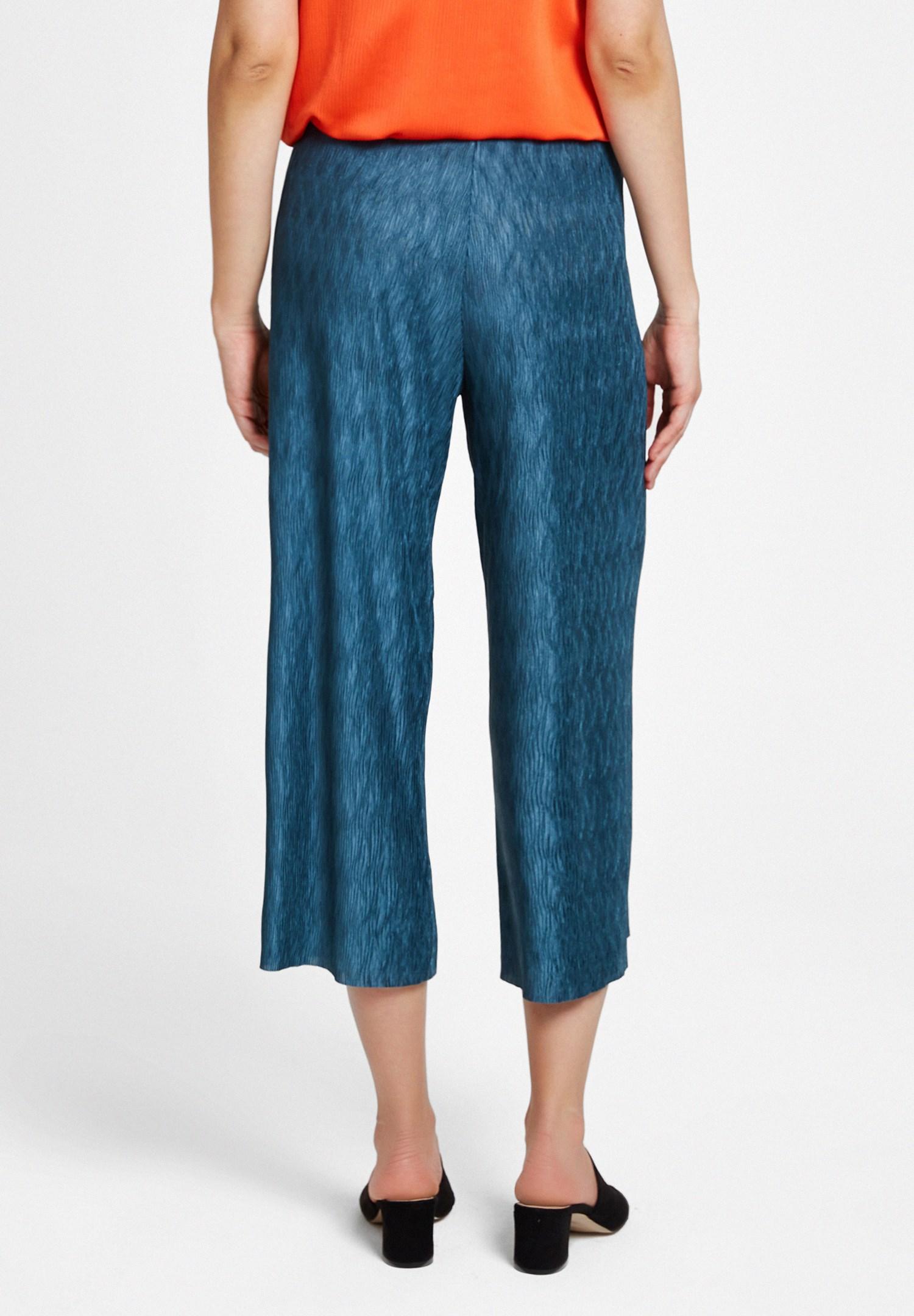 Bayan Yeşil Pili Detaylı Pantolon