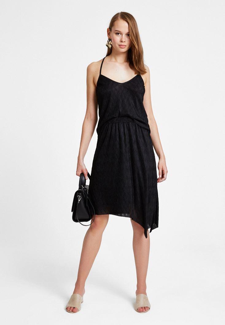 Black Long Asymmetric Skirt