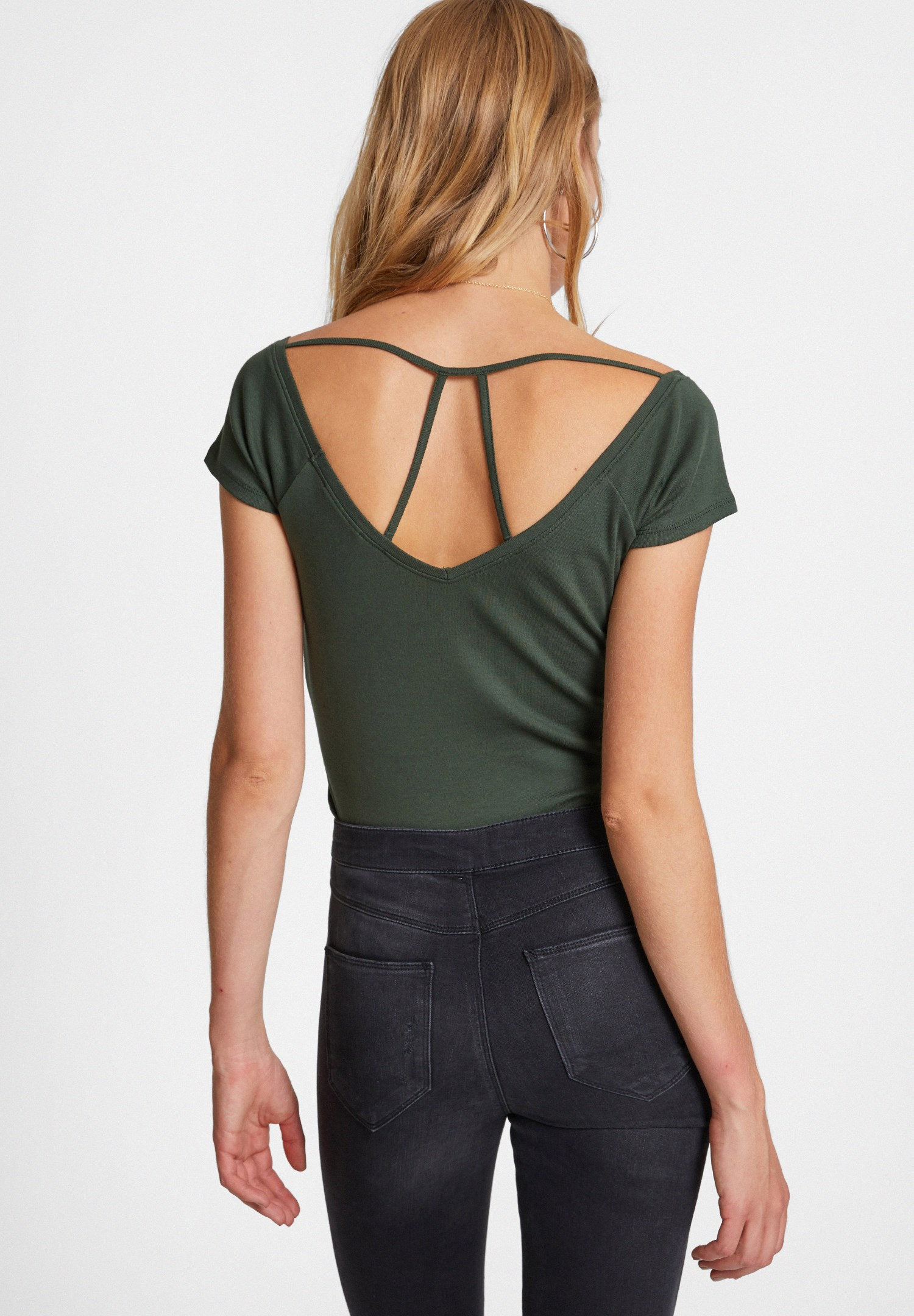 Women Green V Neck T-shirt with Back Detail