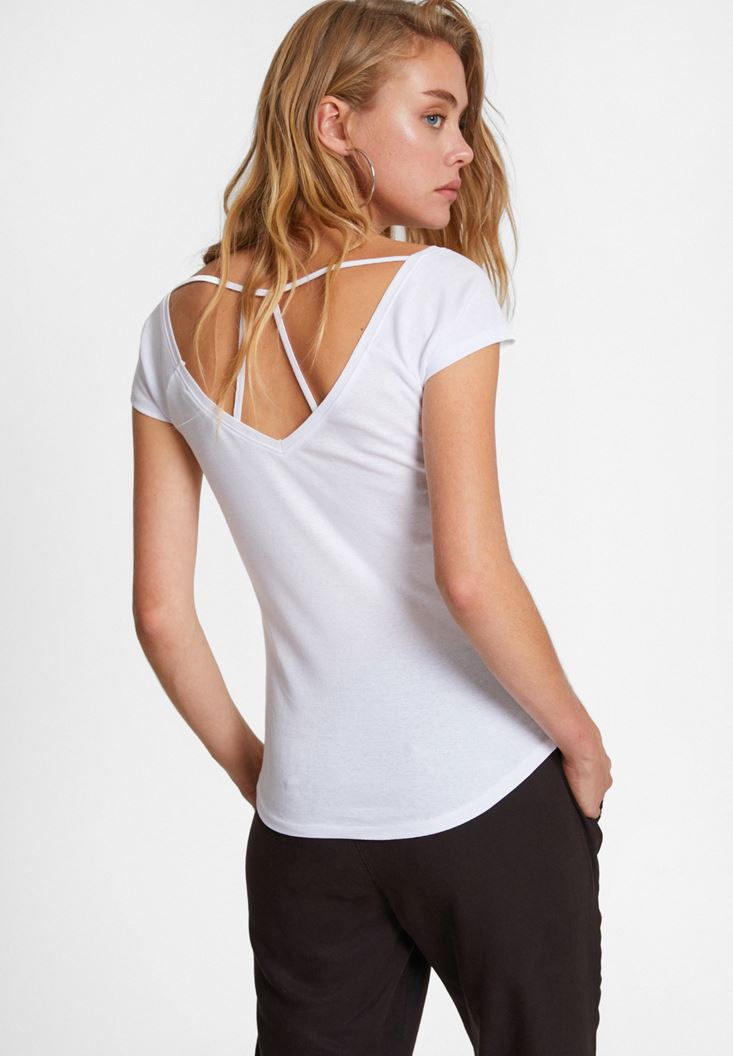 V Neck T-shirt with Back Detail