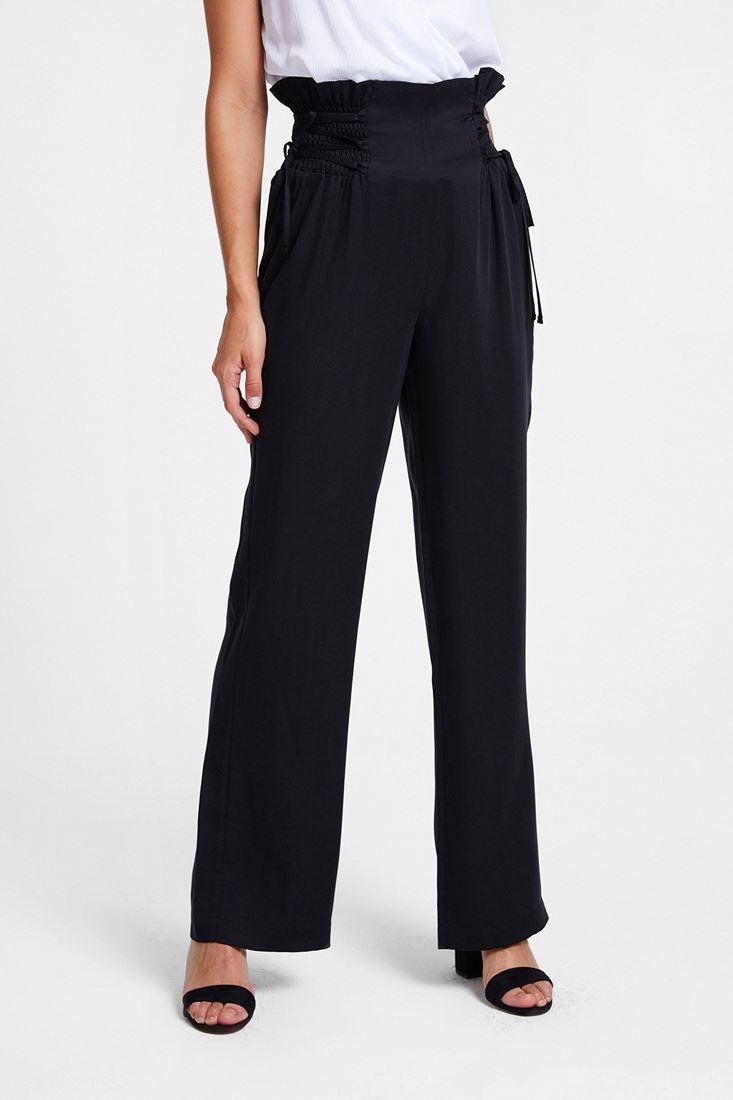Siyah Beli Bağlama Detaylı Bol Pantolon