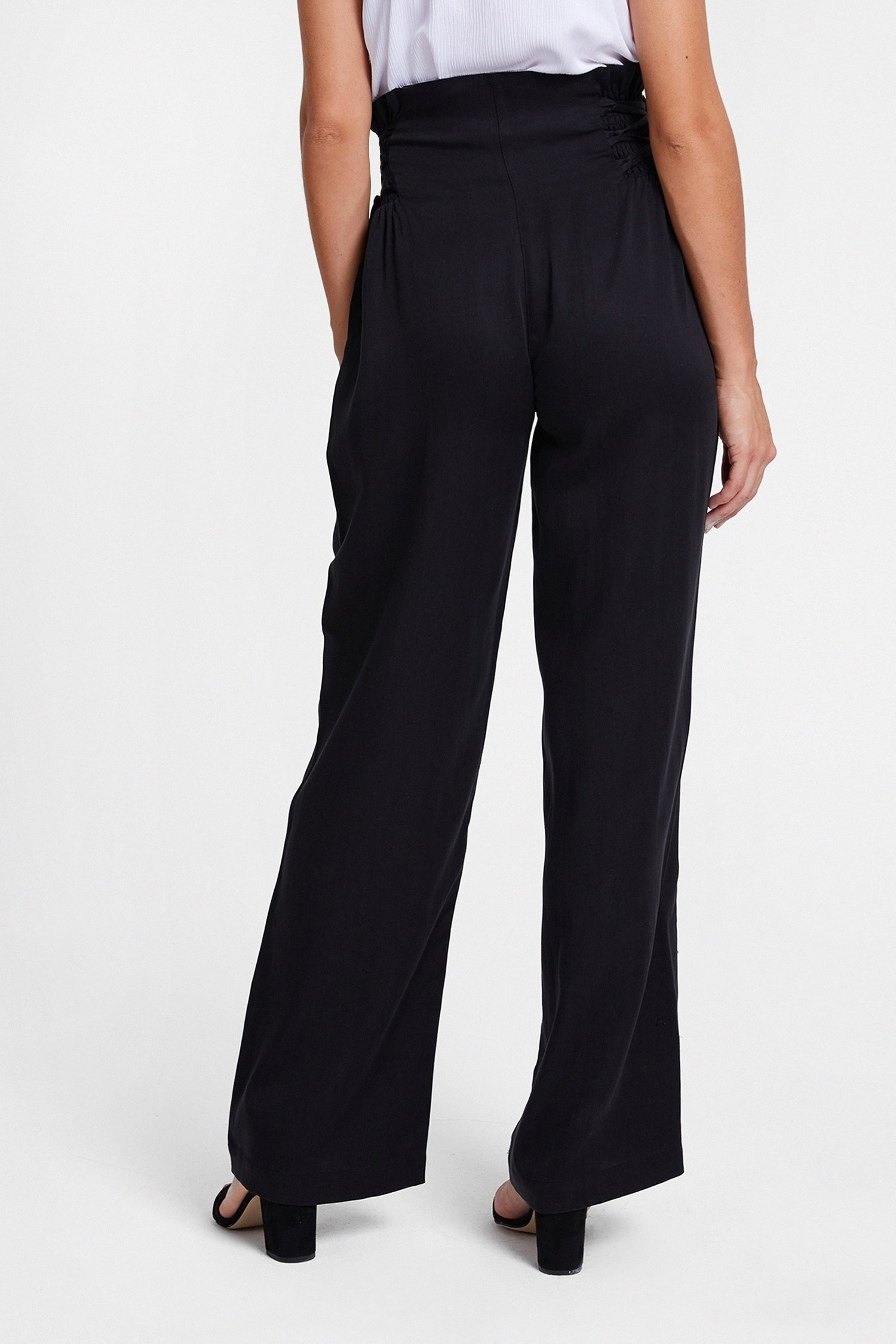 Women Black Pants with Lace Up Detail