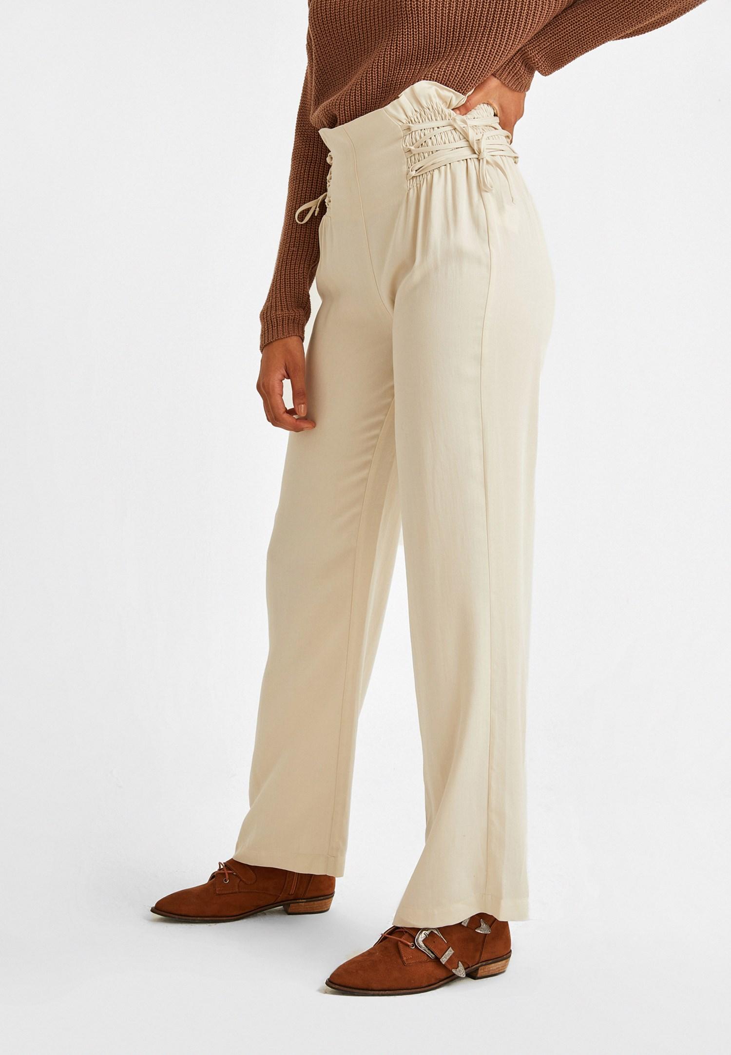 Bayan Krem Beli Bağlama Detaylı Bol Pantolon