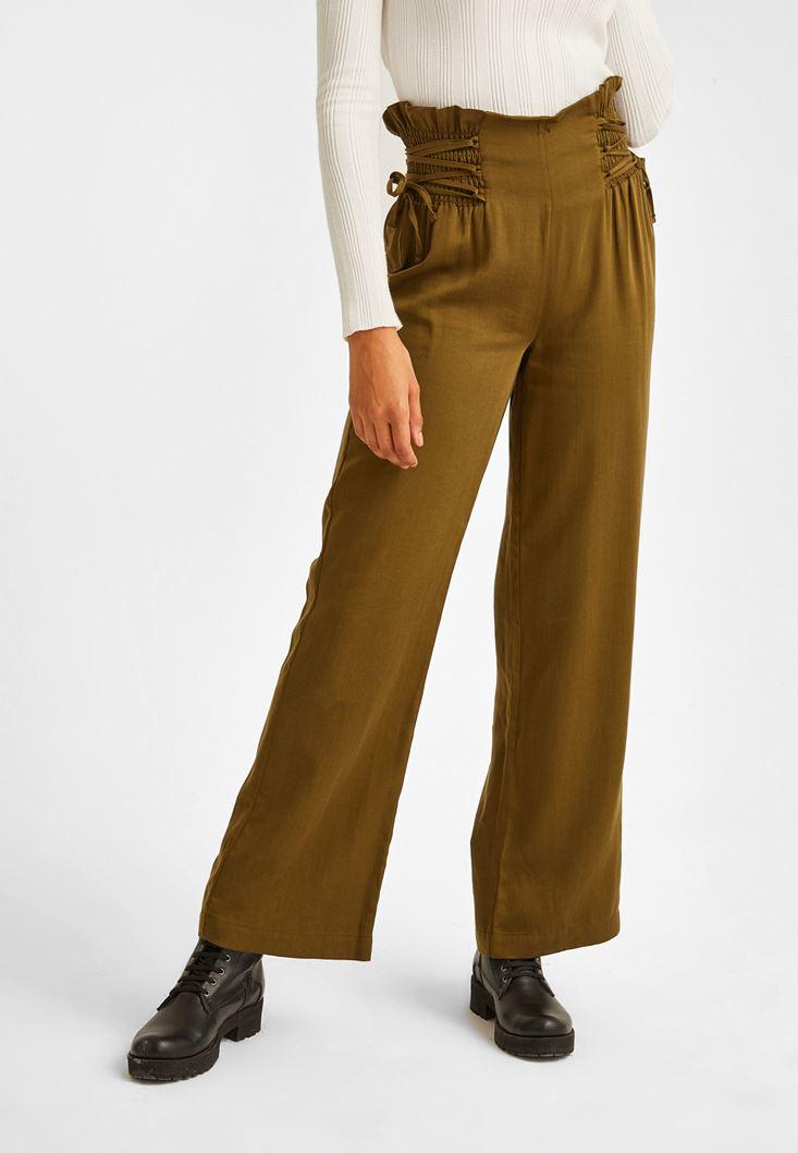 Yeşil Beli Bağlama Detaylı Bol Pantolon
