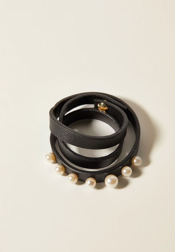 Mixed Faux Leather Bracelet with Pearl