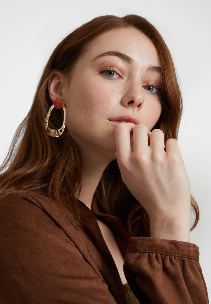 Mixed Textured Gold Earrings