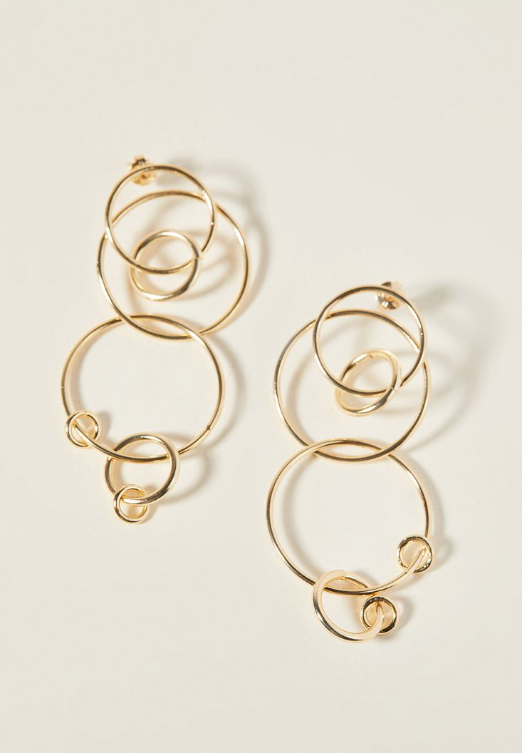 Mixed Interwined Gold Earrings