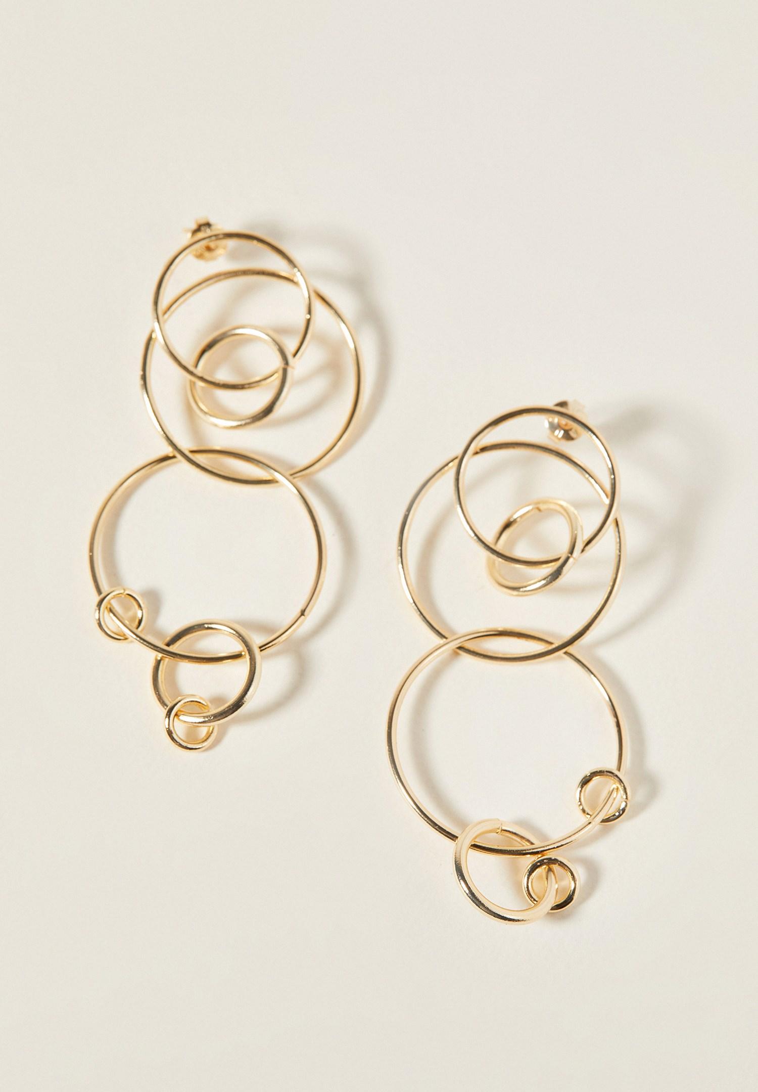 Women Mixed Interwined Gold Earrings