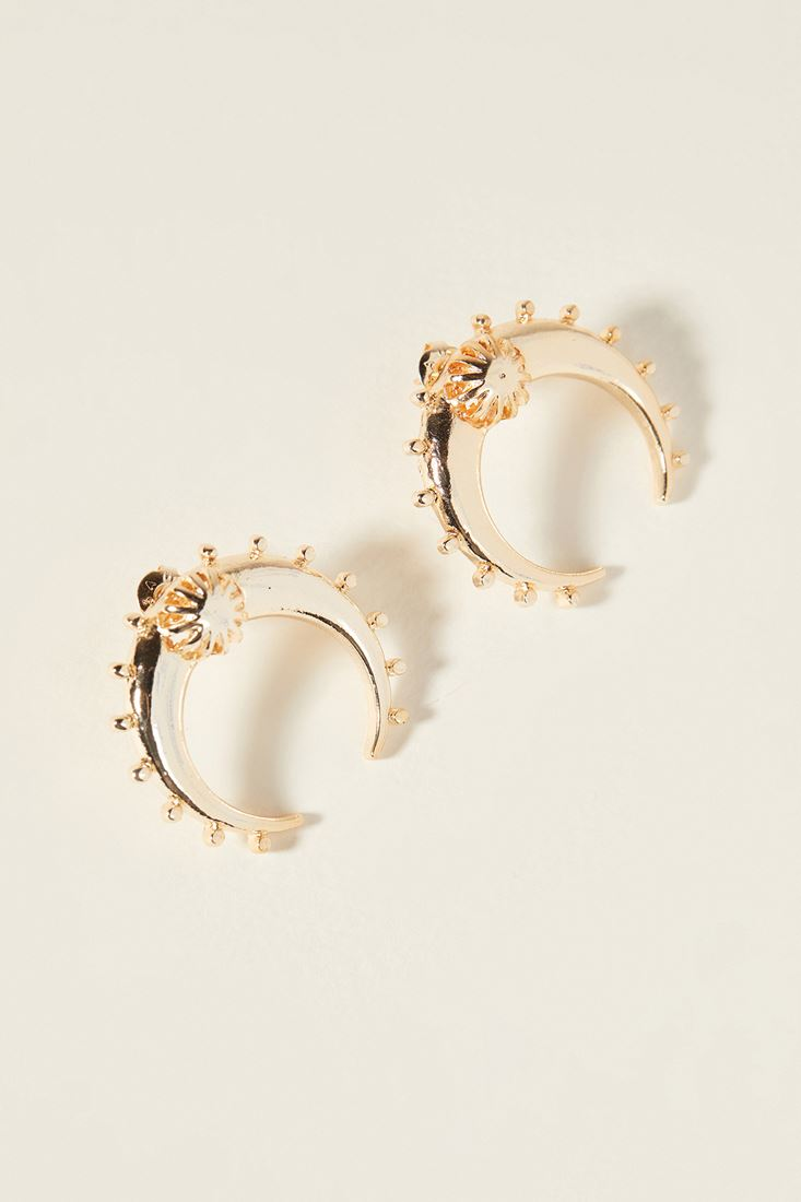 Mixed Crescent Gold Earring