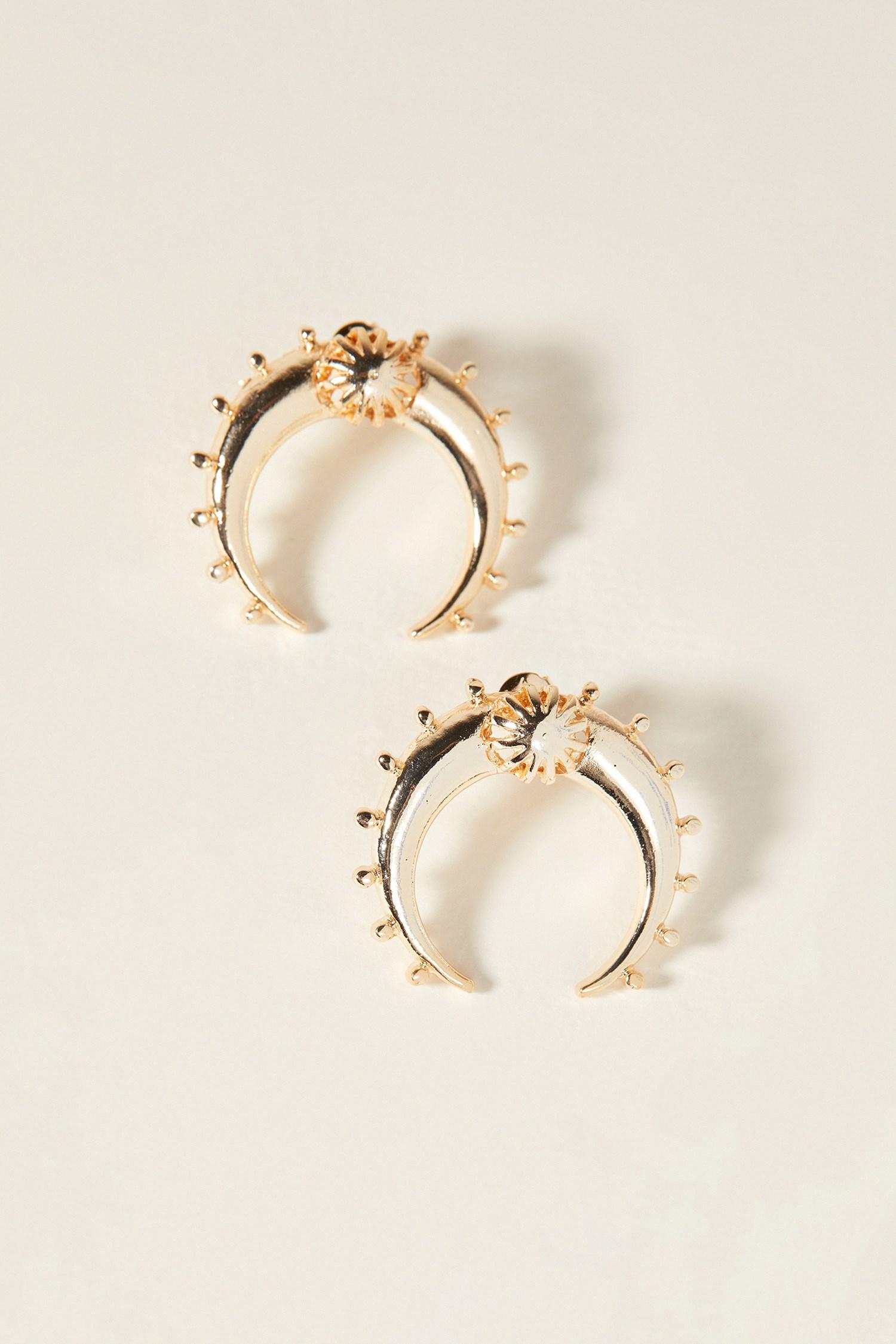 Women Mixed Crescent Gold Earring