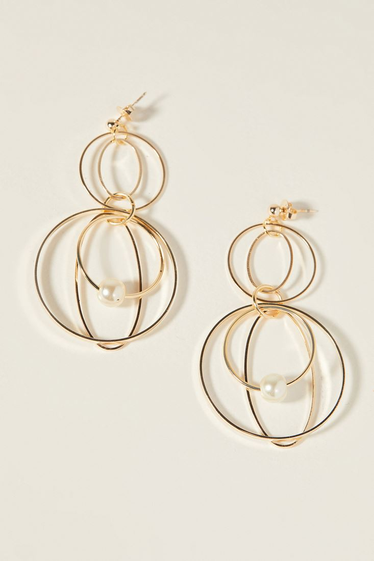 Earings with Round and Pearl Detail
