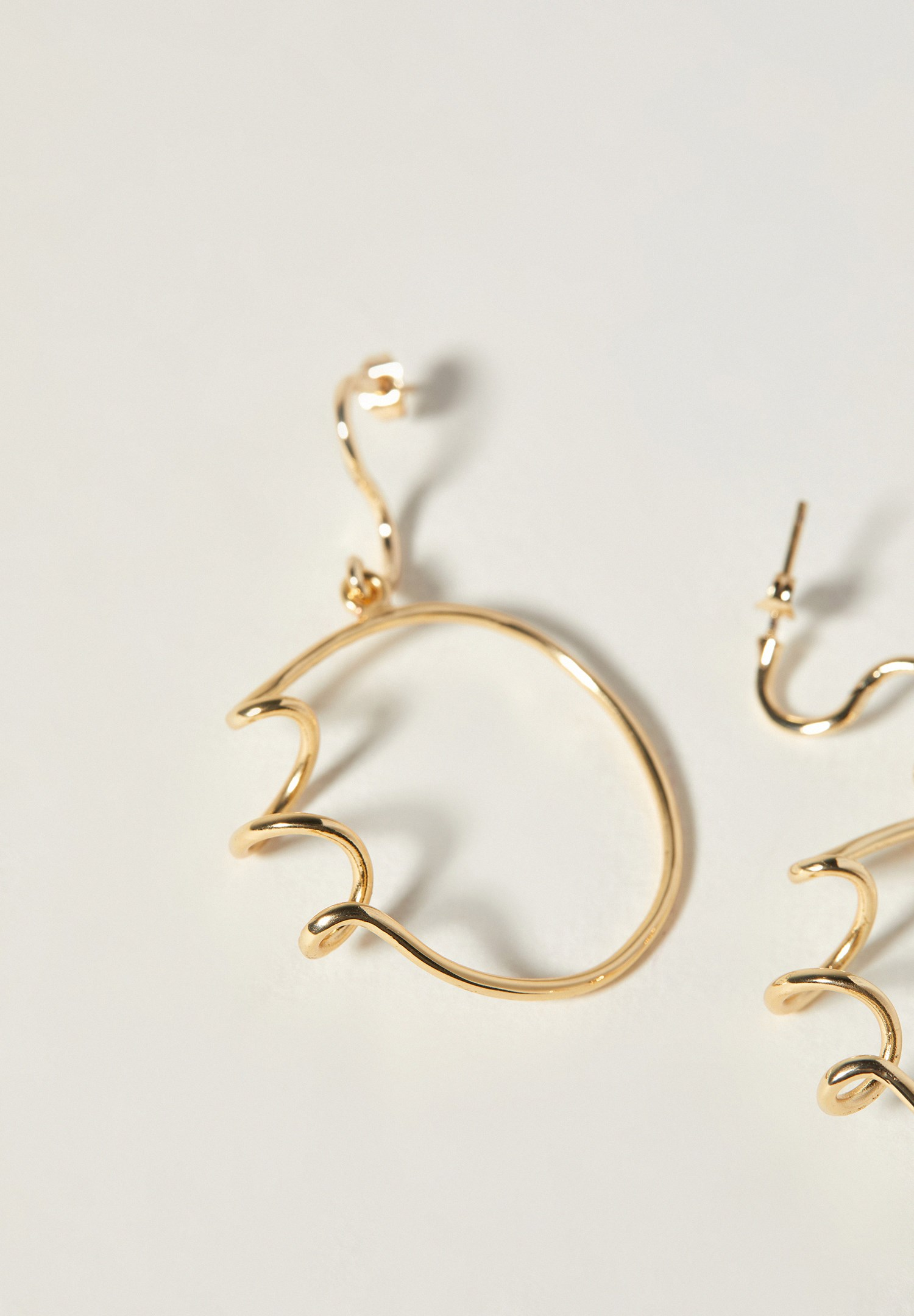 Bayan Çok Renkli Spiral Gold Uzun Küpe