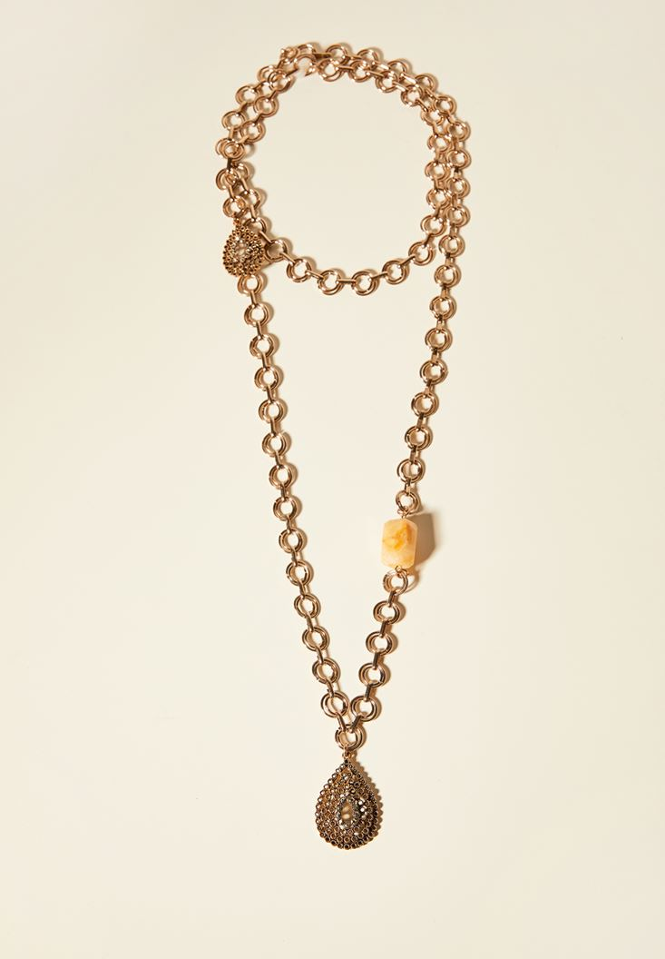 Mixed Madallion Necklace with Rock Detail