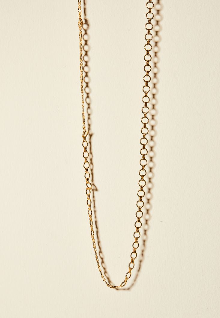 Mixed Chain Necklace with Little Hoops