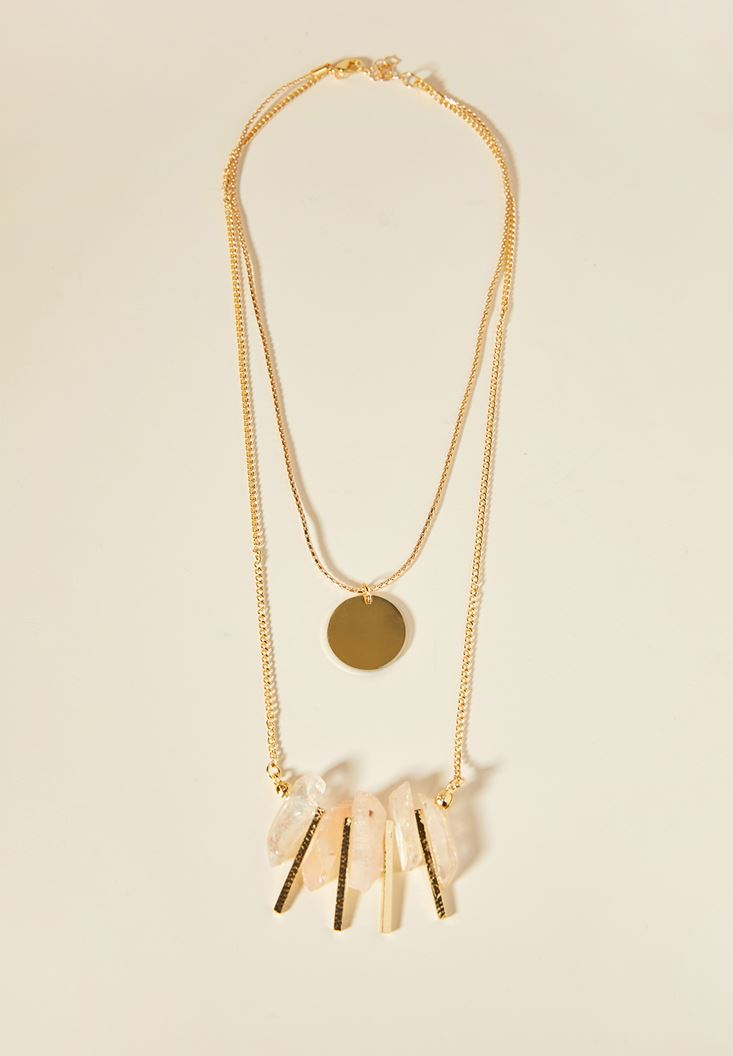 Mixed Gold Necklace with Stone