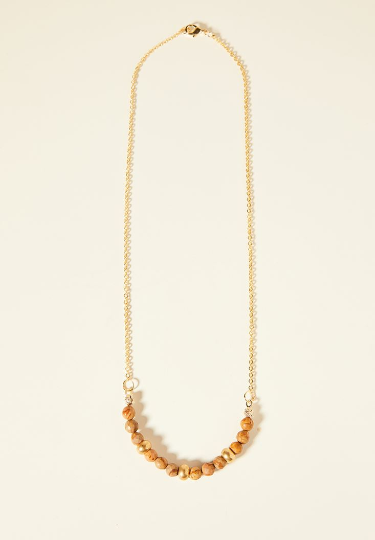 Mixed Gold Necklace with Bead