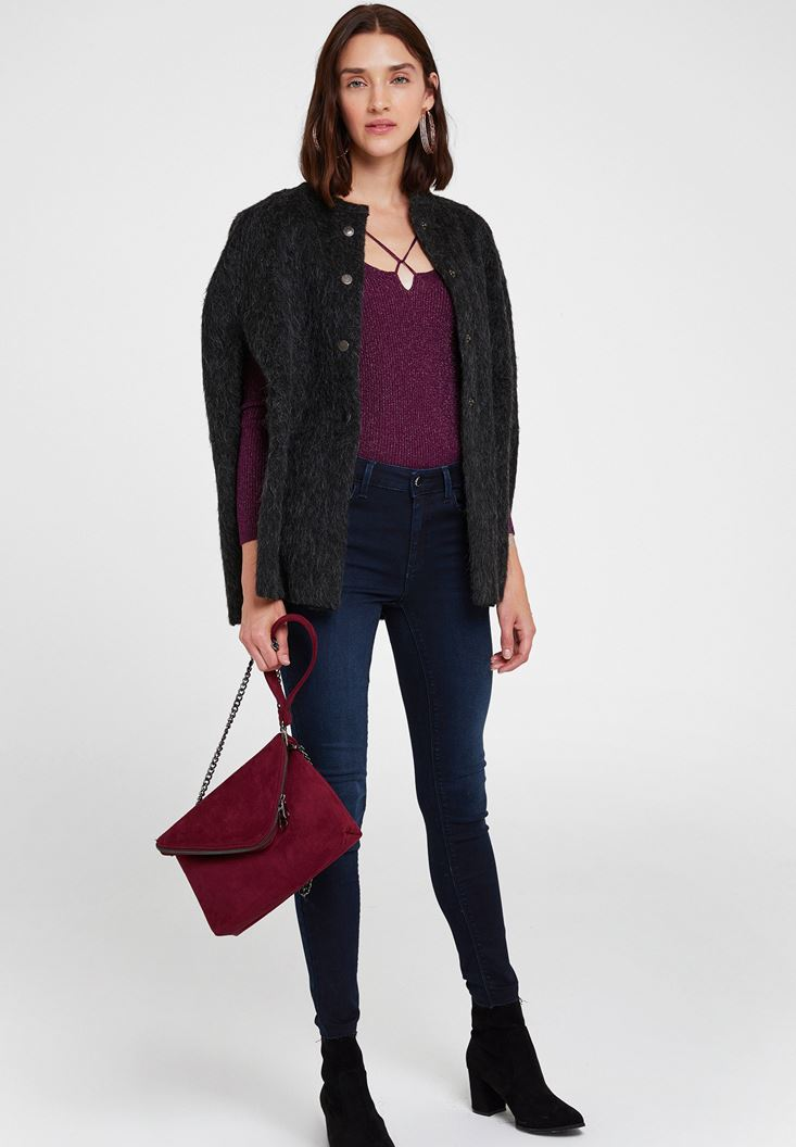 Grey Wool Jacket with Arm Details