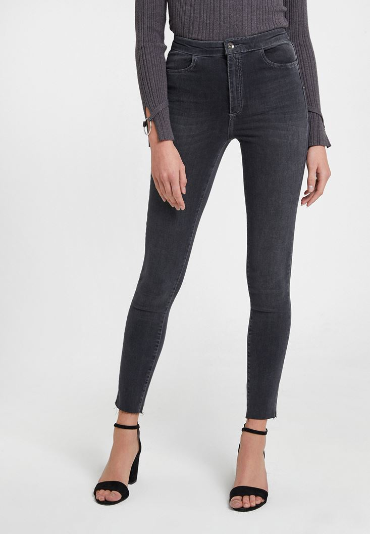 Grey High Waist Denim Pants with Cuff Details