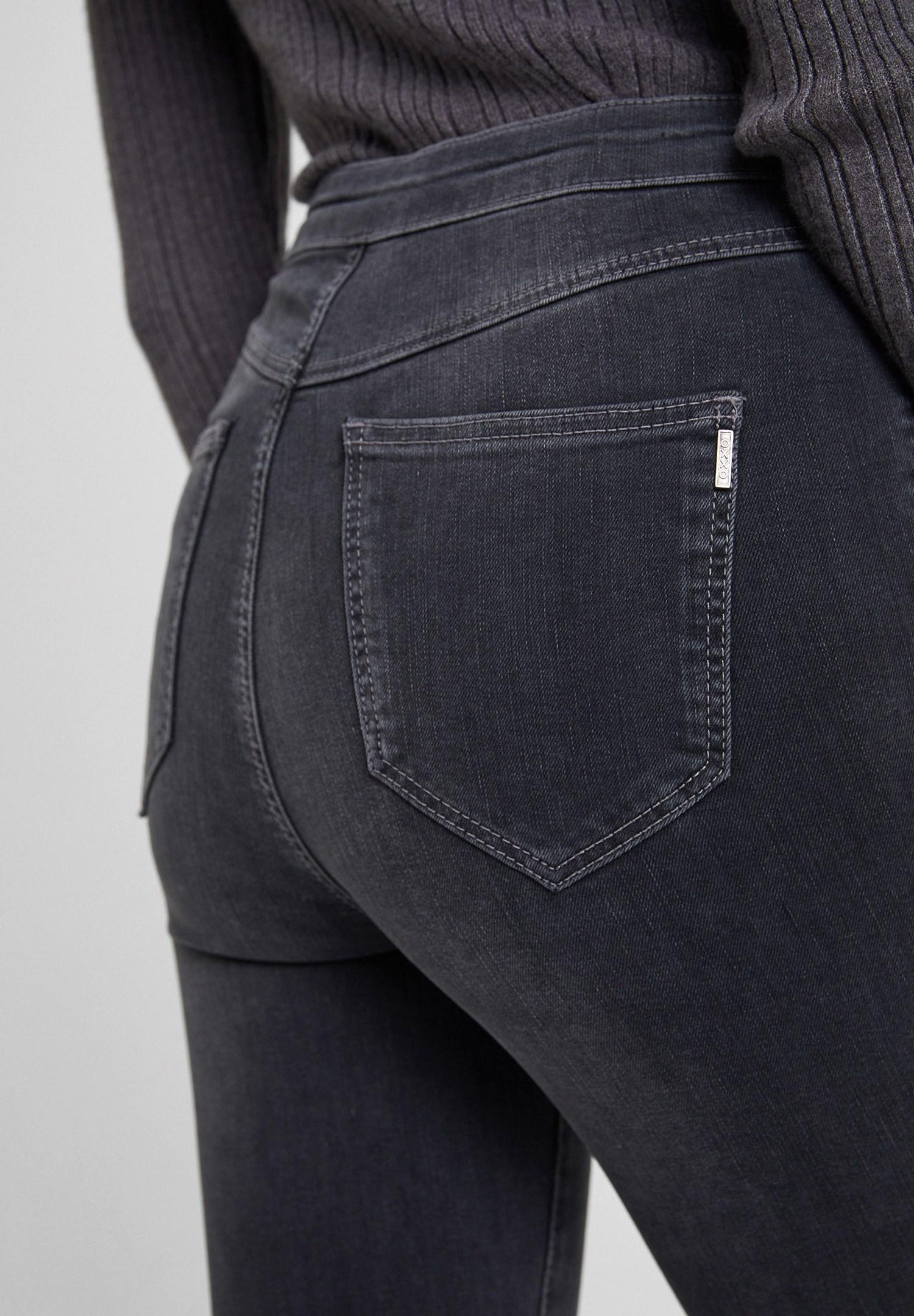 Bayan Gri Paça Detaylı Ultra Yüksel Bel Denim Pantolon