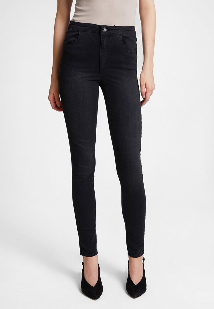 Black High Waist Denim Pants with Cuff Details