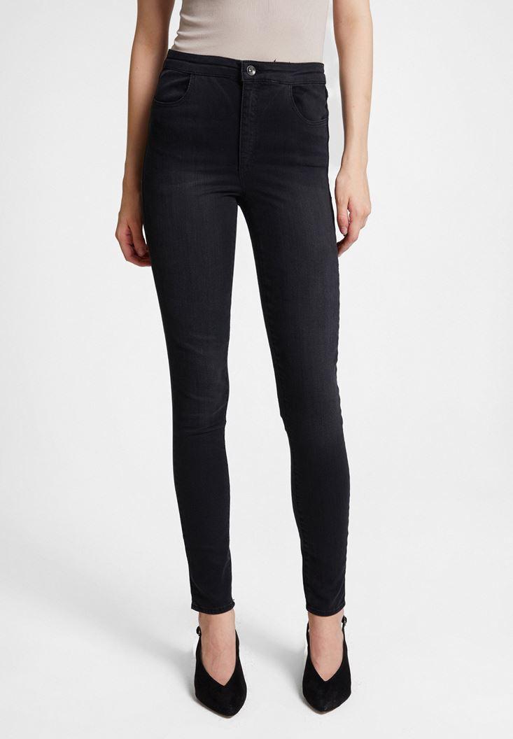 Black High Waist Denim Pants with Cuff Details