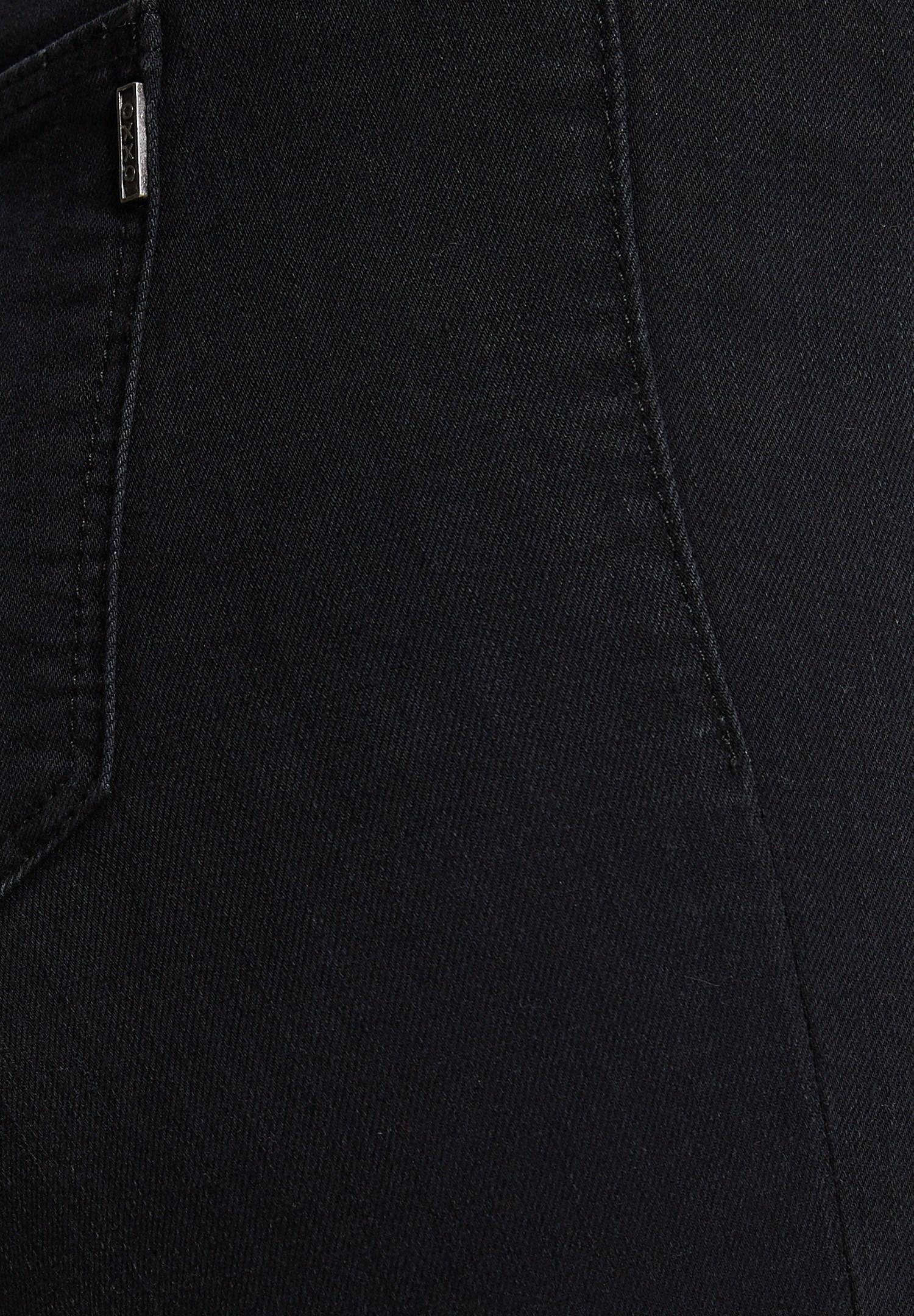 Women Black High Waist Denim Pants with Cuff Details