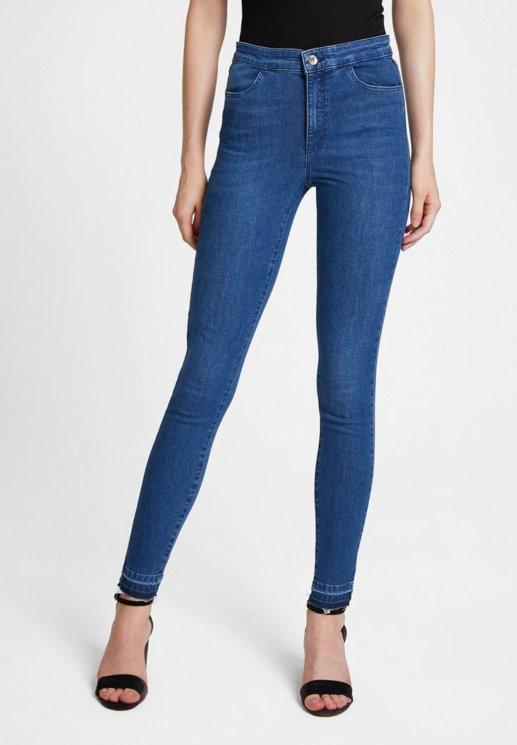 Blue High Waist Denim Pants with Cuff Details