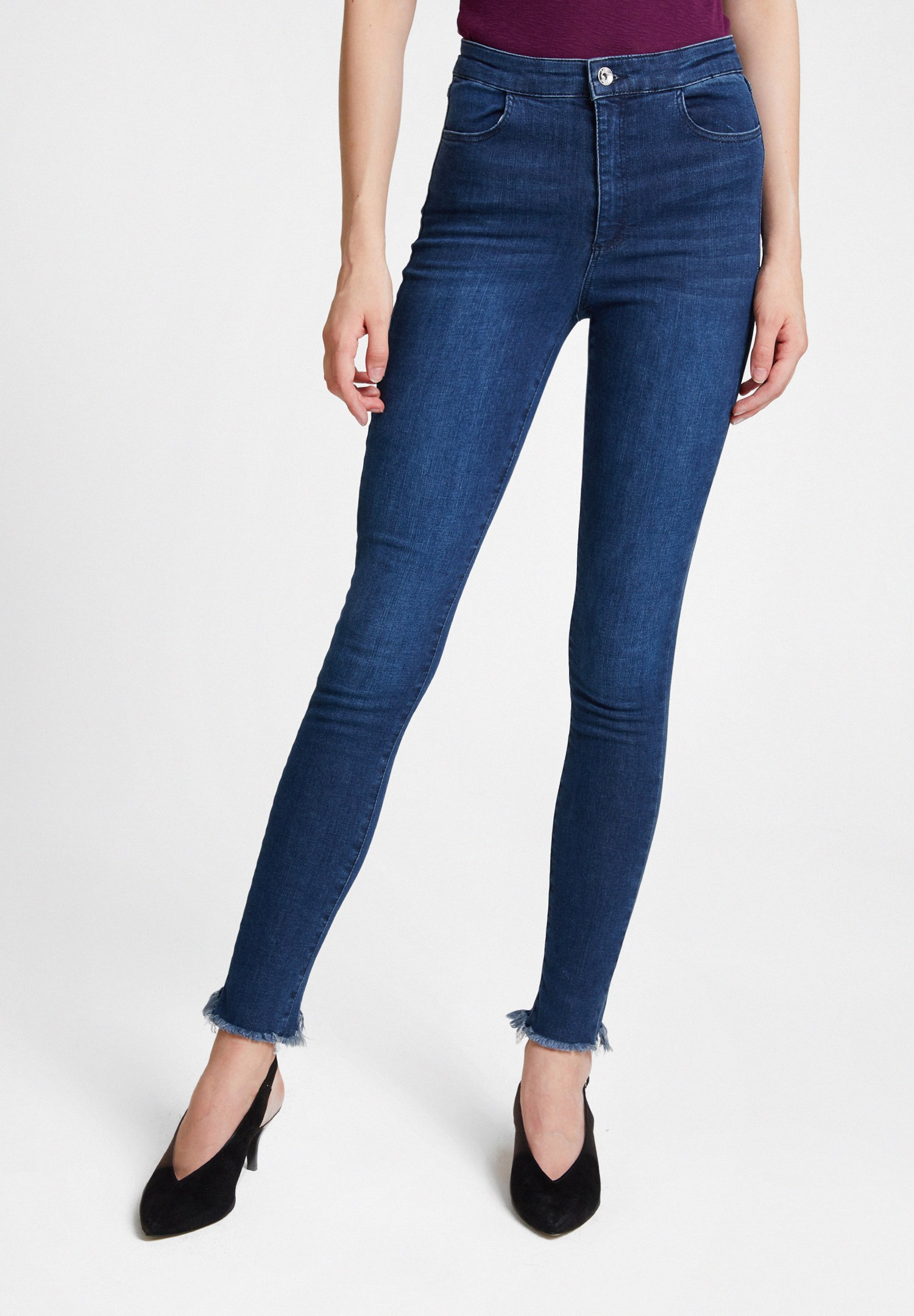 Women Blue High Waist Denim Pants with Cuff Details