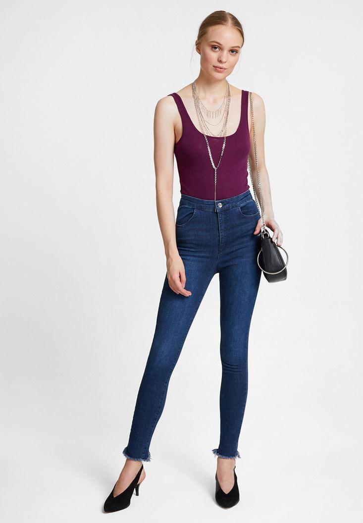 Yüksek Bel Jean ve Mor Askılı Bluz Kombini