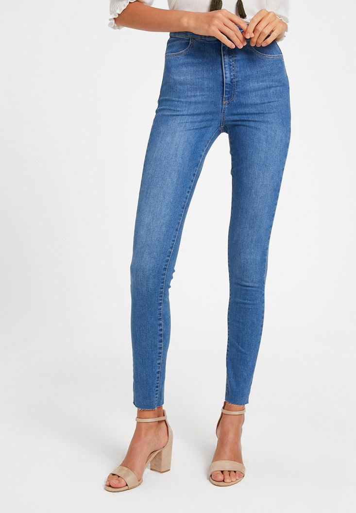 Blue High Waist Denim Pants with Cuff Details