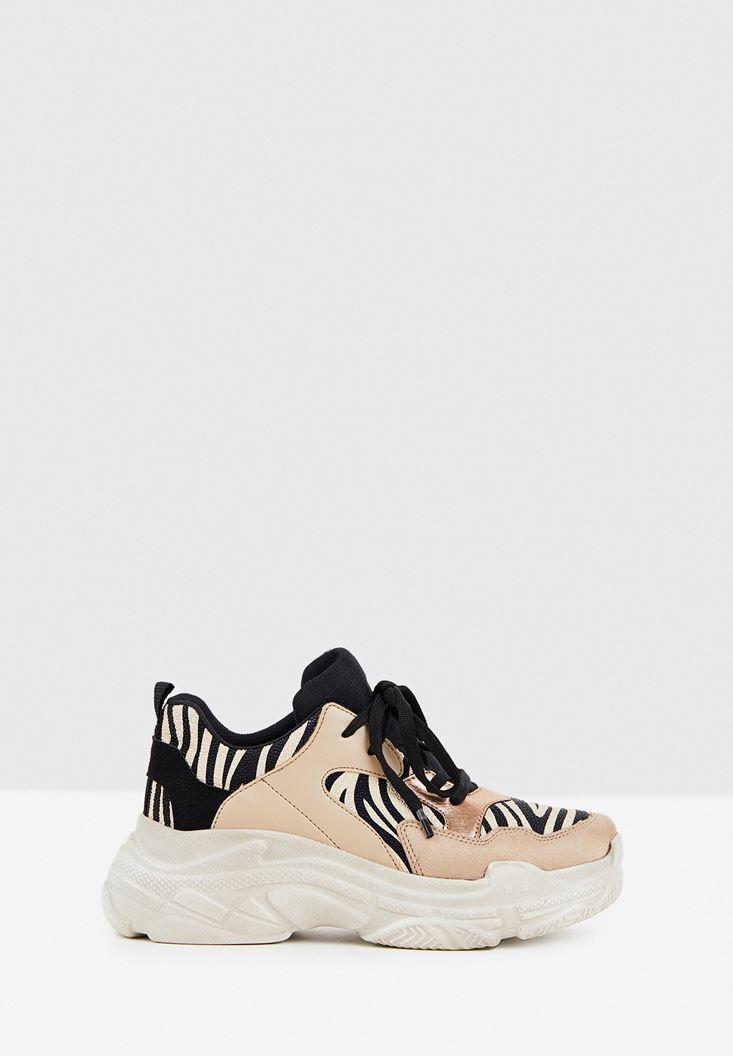 Kalın Tabanlı Zebra Desenli Sneaker