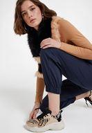 Bayan Çok Renkli Kalın Tabanlı Zebra Desenli Sneaker