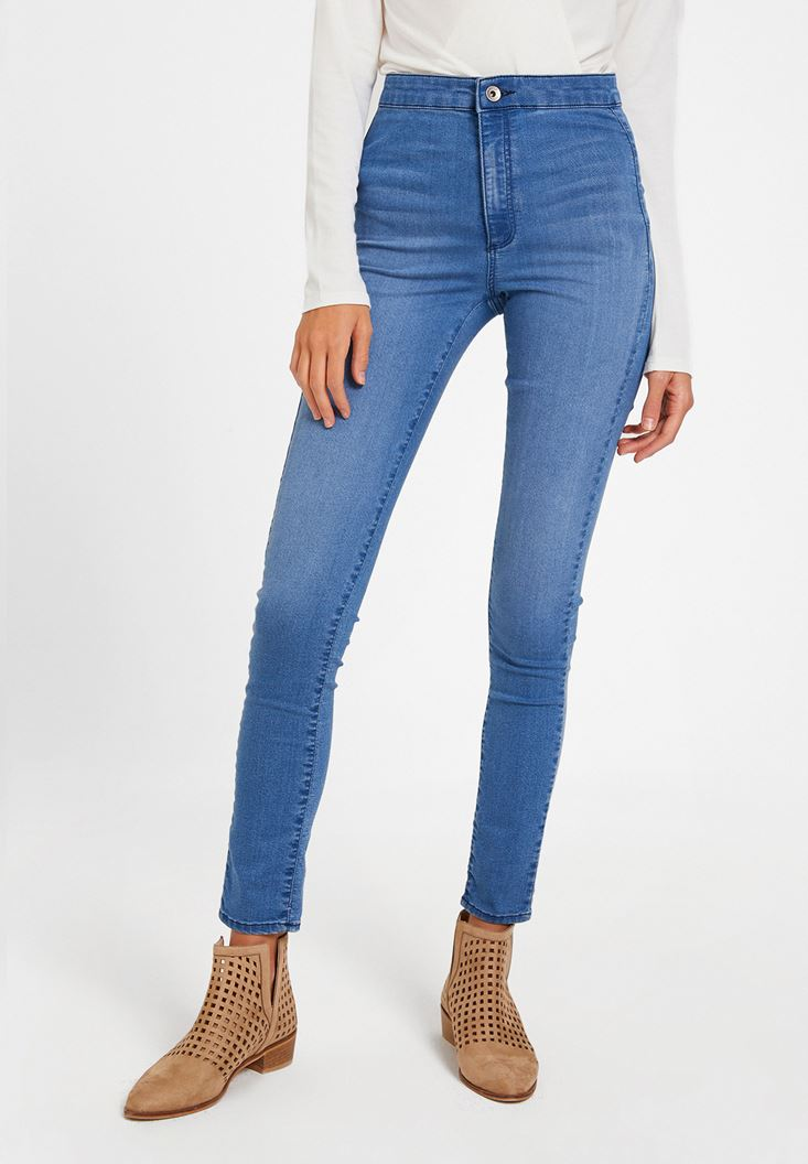 Blue Ultra High Rise Denim