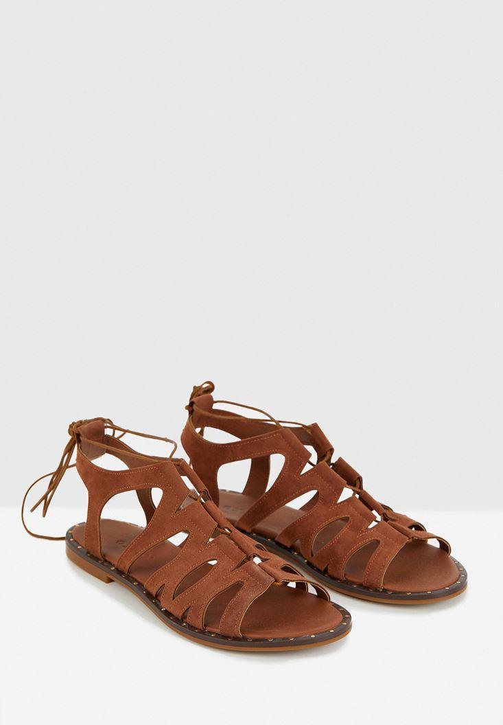 Kahverengi Lace Up Detaylı Sandalet