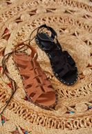 Bayan Kahverengi Lace Up Detaylı Sandalet