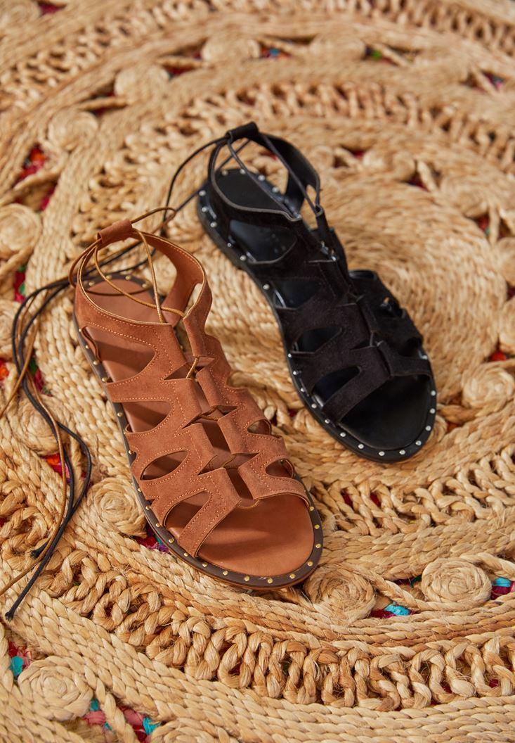 Siyah Lace Up Detaylı Sandalet