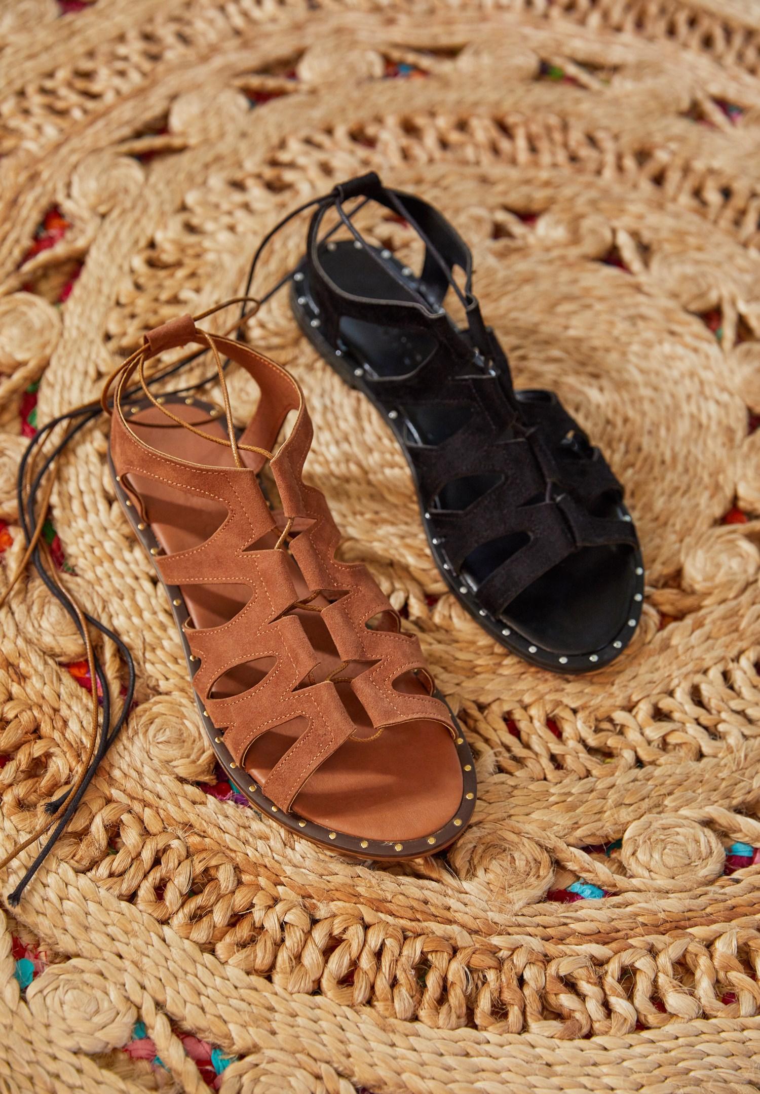 Bayan Siyah Lace Up Detaylı Sandalet
