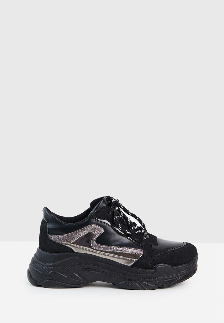 Siyah Kalın Tabanlı Yanları Şeritli Sneaker
