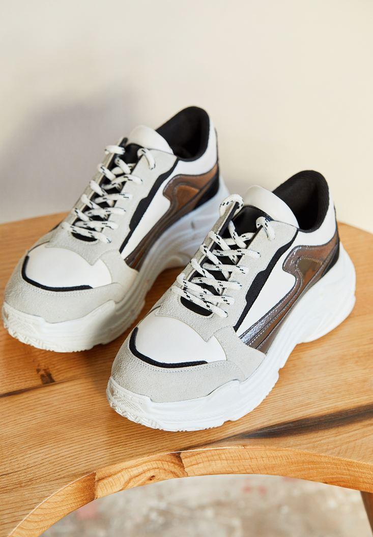 Beyaz Kalın Tabanlı Yanları Şeritli Sneaker