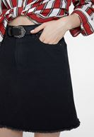 Women Black Denim Skirt with Pocket