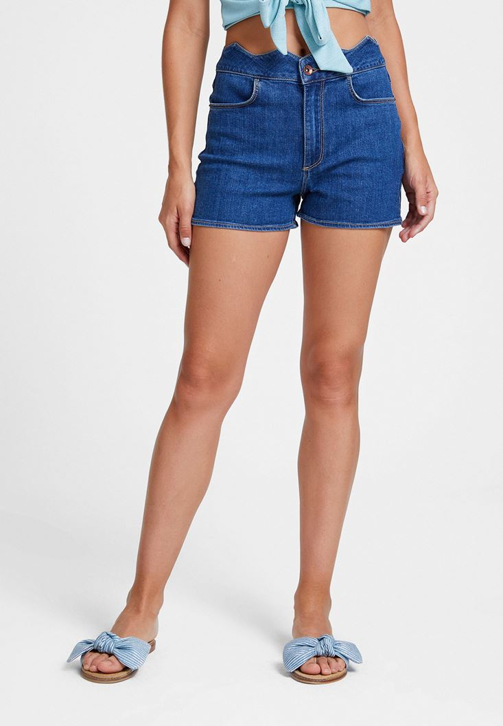 Blue Geometric Cut Waist Short
