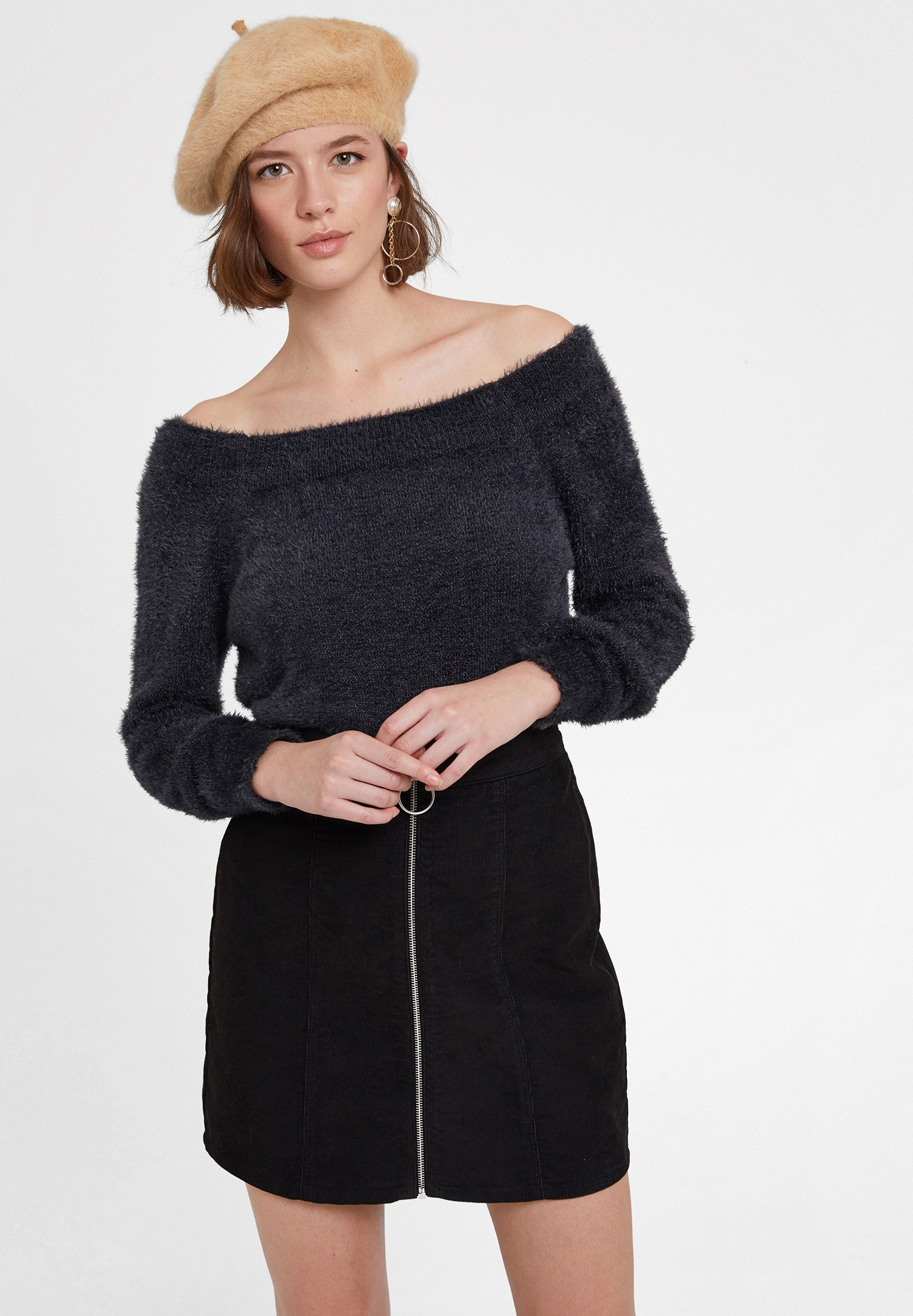 Women Grey Knitwear with Neck Detail