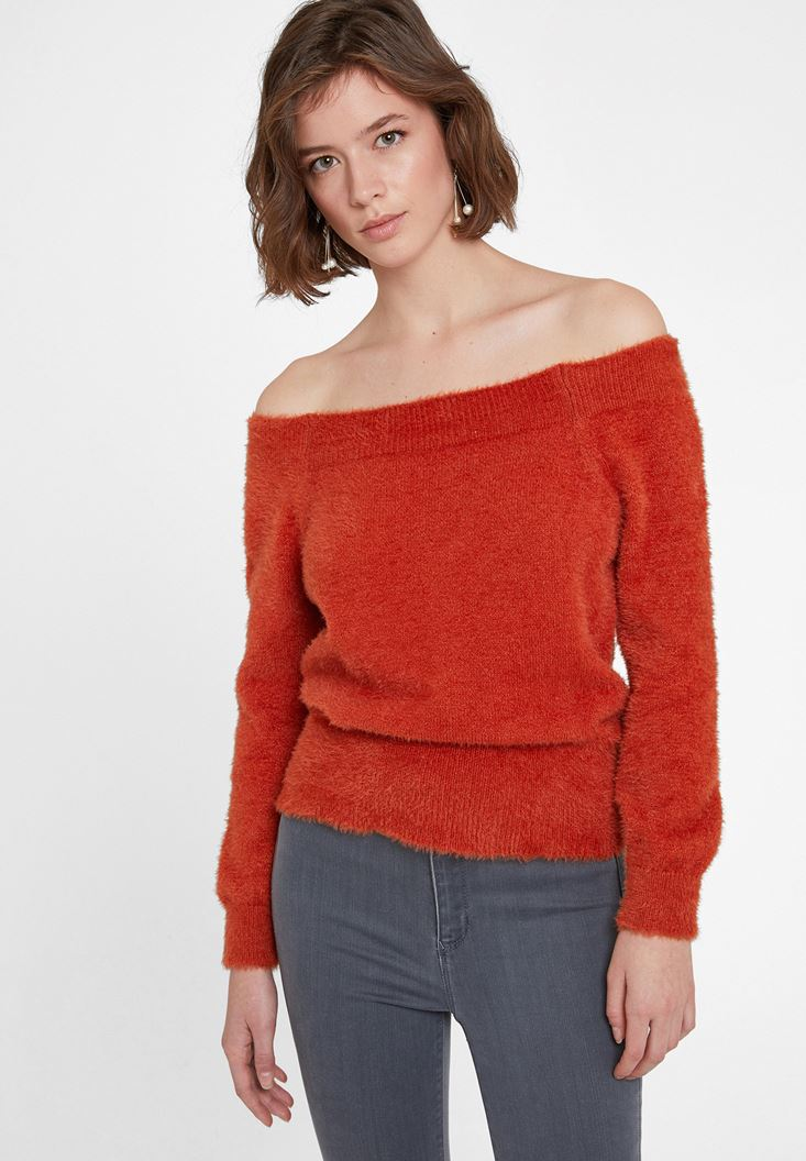 Orange Knitwear with Neck Detail