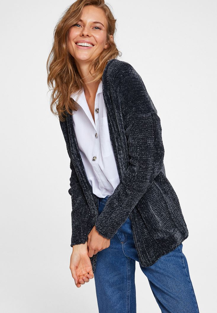 Grey Long Sleeve Chenille Cardigan