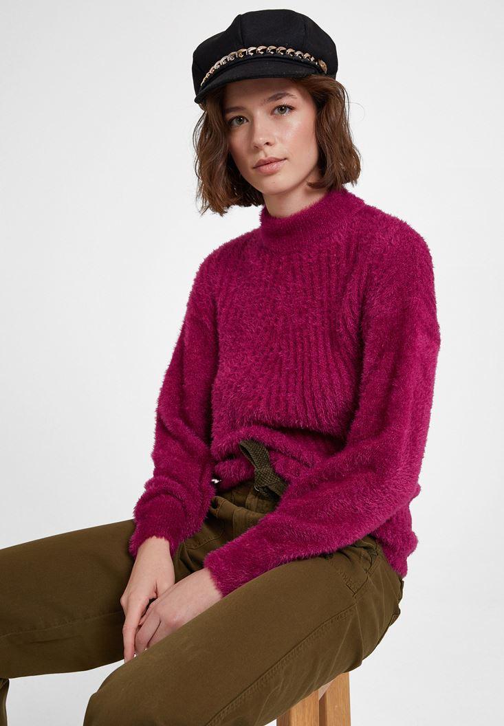 Purple Roll Neck Long Sleeve Knitwear