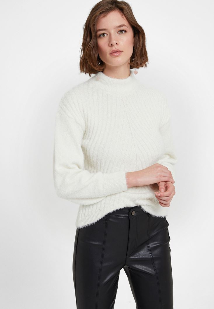 Cream Roll Neck Long Sleeve Knitwear