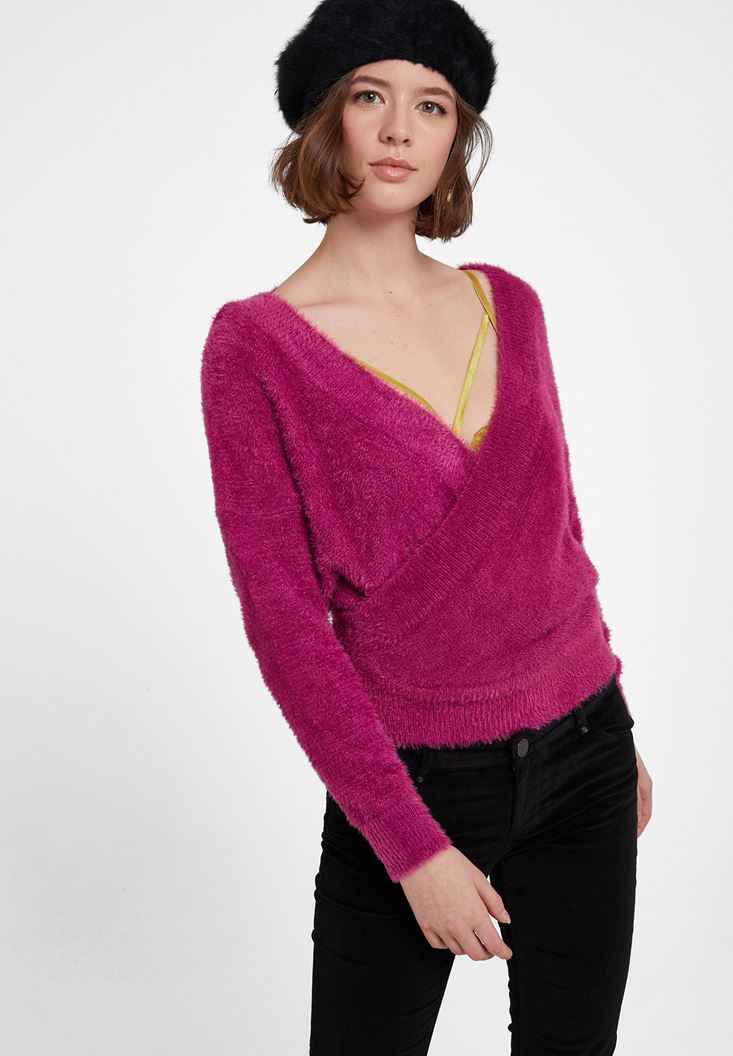 Purple Crossover Knitwear with Back Detail
